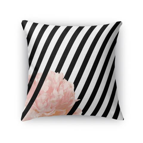 Kavka Designs black/ white/ pink peony stripe accent pillow with insert
