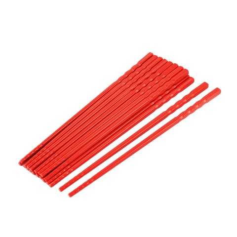 Unique Bargains Kitchen Dishware Plastic Chinese Style Dinner Chopsticks Red 10 Pairs