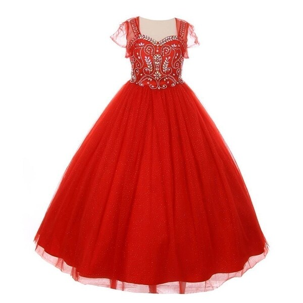 2843623bf8b Shop Girls Red Bedazzled Rhinestone Tulle Bolero Special Occasion Dress - Free  Shipping Today - Overstock - 18167909