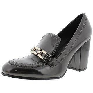 Marc Fisher Womens Barley Loafer Heels Faux Leather Round Toe - 7 medium (b,m)