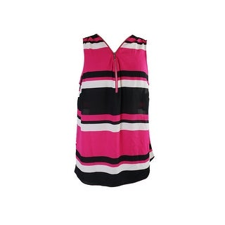 Inc International Concepts Plus Size Pink Black Front-Zip Top 14W