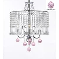 Contemporary 3-Light Swag Plug In Crystal Chandelier With Crystal Shade And Pink Crystal Balls