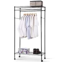 Costway Garment Rack Double Hanging Clothes Rail Rolling Adjustable Rod Portable Shelf - as pic