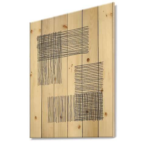 Designart 'Minimal Geometric Compostions Of Elementary Forms XXI' Modern Print on Natural Pine Wood