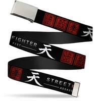 Blank Chrome  Buckle Akuma Symbol Street Fighter Assassin's Fist Web Belt - S
