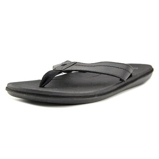 Sanuk Planer Men  Open Toe Leather Black Flip Flop Sandal