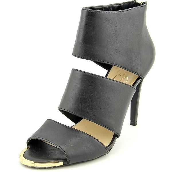 Jessica Simpson Elsbeth Peep-Toe Leather Heels