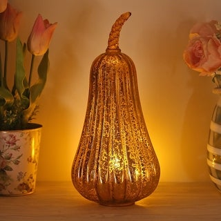 Glass Home Decoration Pumpkin, Battery Operated LED Pumpkin Lights with Timer for Fall, Thanksgiving and Christmas Decoration