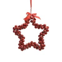 "14"" Alpine Chic Red Star Shaped Jingle Bell Decorative Christmas Wreath"
