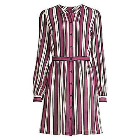 MICHAEL KORS Purple Long Sleeve Knee Length Dress 2XS