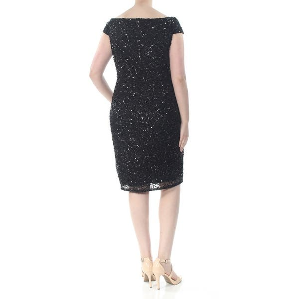 ADRIANNA PAPELL Womens Black Sequined Short Sleeve Off Shoulder Knee Length  Sheath Party Dress Plus Size: 20W