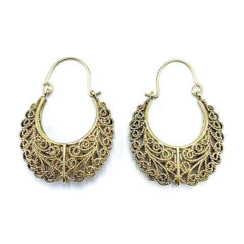 Handmade Kochi Filigree Hoop Earrings for Women