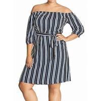 City Chic Blue Women's Size 16 Plus Off-Shoulder Sheath Dress