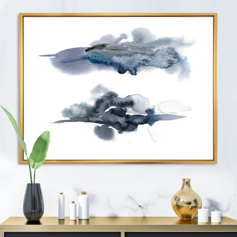 Designart 'Abstract of Dark Blue Clouds II' Modern Framed Canvas Wall Art Print