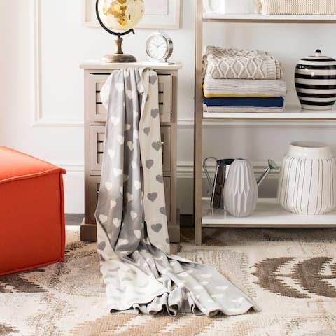 SAFAVIEH Truelove Heart Grey Knit 50 x 60-inch Throw Blanket
