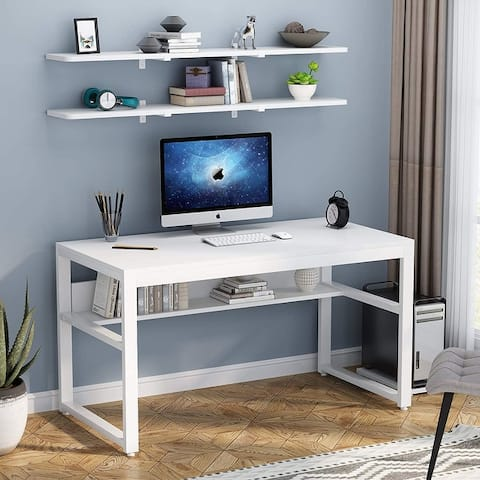 Computer Desk with Bookshelf and Floating Storage Shelves for Home Office