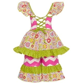 Sophias Style Exclusive Girls Harper Pink Green Floral Print Ruffle Outfit