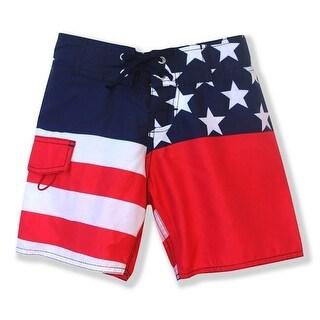 Azul Boys Blue Red American Flag Print Old Glory Board Shorts