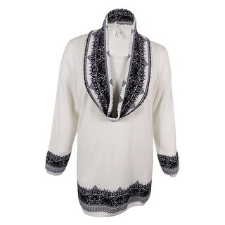 NY Collection Women's Plus Size Jacquard Scarf Sweater (2X, Ivory)