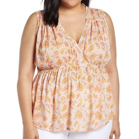 Lucky Brand Women's Top Orange Size 2X Plus Knit Surplice Frill Trim