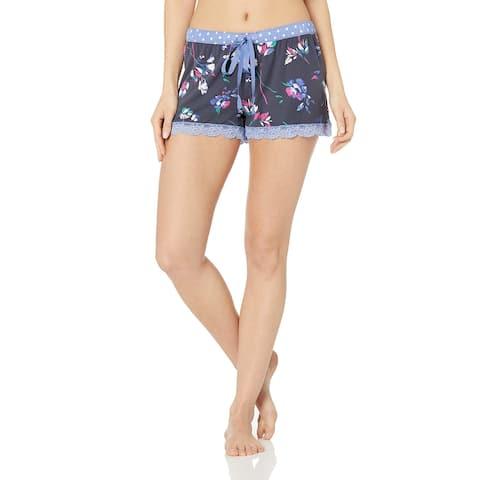 PJ Salvage Womens Sleepwear Blue Size Medium M Lace-Trim Sleep Shorts