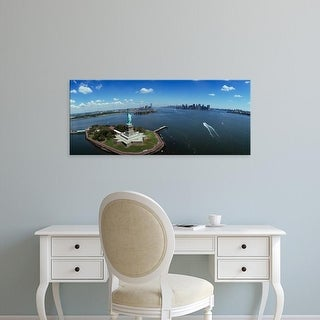 Easy Art Prints Panoramic Image 'Aerial view of a statue, Statue of Liberty, New York City, New York State' Canvas Art