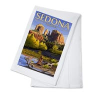 Sedona AZ - Cathedral Rock & Cairn - LP Artwork (100% Cotton Towel Absorbent)