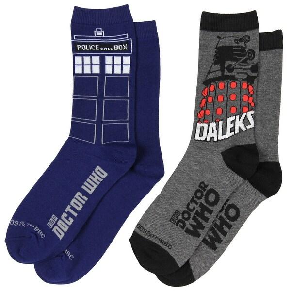 Doctor Dr Who Tardis Women's (2) Pair Crew Cut Socks Size 4-10 DW-0206