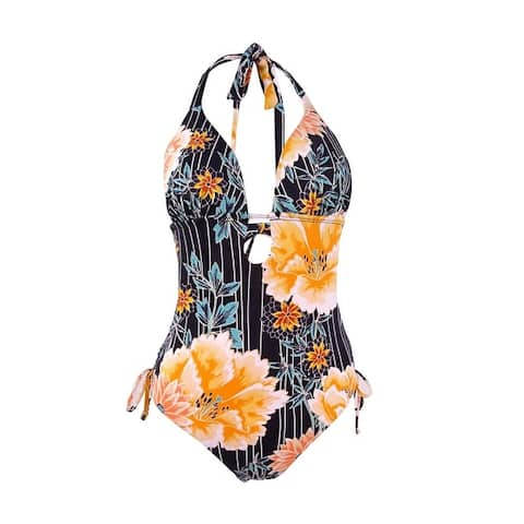 Bar III Women's Floral Stripe Printed Plunging One-Piece Swimsuit - Multi