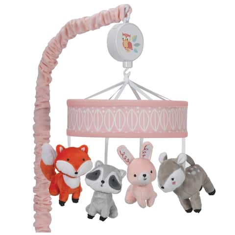 Lambs & Ivy Little Woodland Pink/White Raccoon, Bunny, Dear, and Fox Musical Baby Crib Mobile