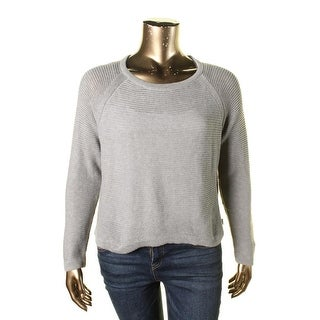 L-RL Lauren Active Womens Ribbed Raglan Sleeves Sweater