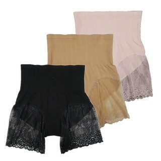 Women 3 Pack Seamless High Cut Lace Shapewear Control Briefs Panties (2 options available)