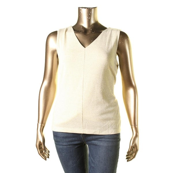 Nine West Womens Tank Top Metallic Knit