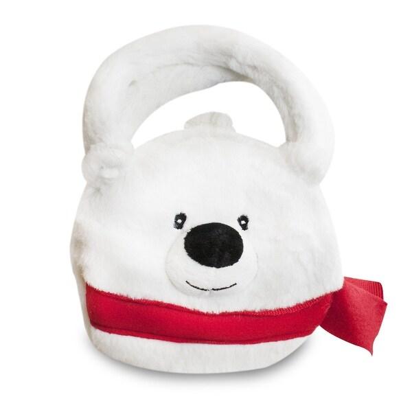 Gitzy Christmas Polar Bear Plush Purse, 8-inch