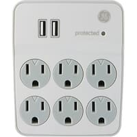 General Electric 36735 6-Outlet Surge-Protector Wall Tap with 2 USB Ports