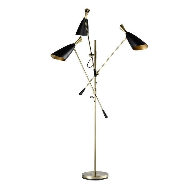 Metal 3 Light Floor Lamp Gold Black