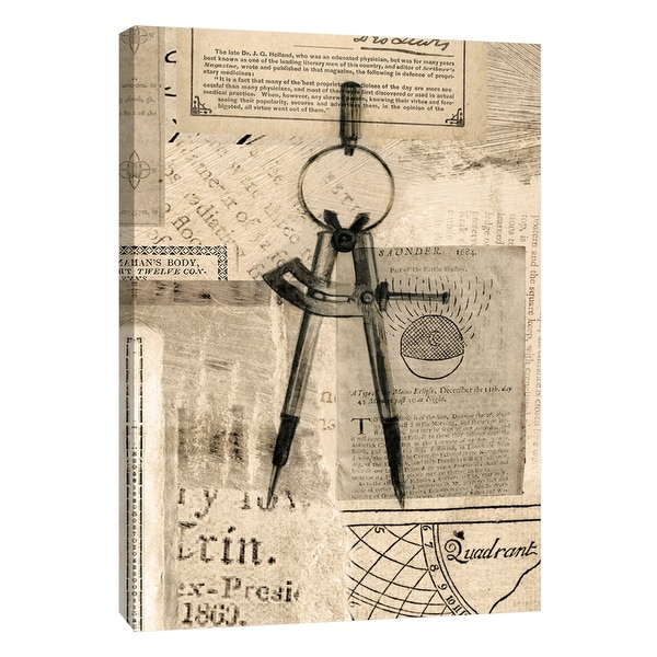 """PTM Images 9-105402 PTM Canvas Collection 10"""" x 8"""" - """"Academic Drafters Compass Illustration"""" Giclee Text and Symbols Art Print"""