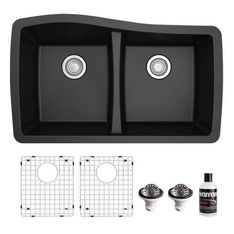 Karran Undermount Quartz 33 in. 50/50 Double Bowl Kitchen Sink Kit