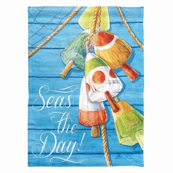 "Multicolored Nautical Buoy ""Seas The Day"" Garden Flag 18"" x 13"" - N/A"
