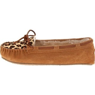 Minnetonka Womens Cally Suede Faux Fur Lined Moccasin Slippers - 5 medium (b,m)