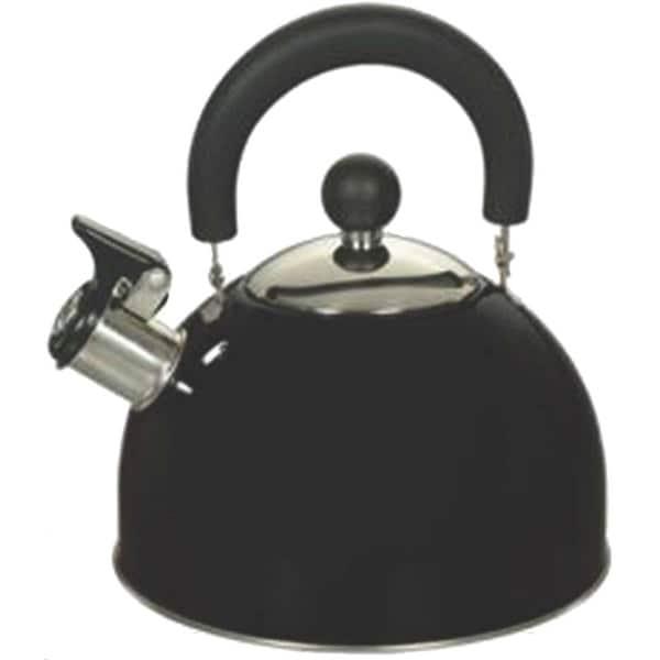 Euro-Ware 309-BK Whistling Tea Kettle, Stainless Steel, 2.5 Quarts