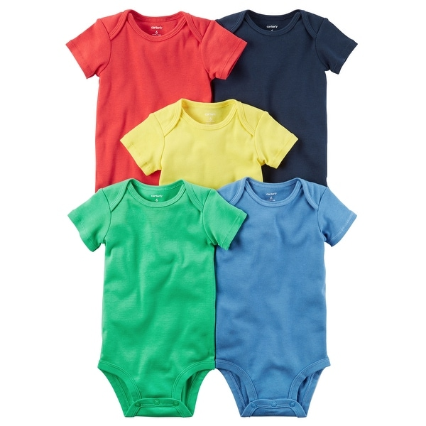 ecc663c836b74 Shop Carter's Baby Boys' Bright Solid 5 Pack Bodysuits- 12 Months - Free  Shipping On Orders Over $45 - Overstock - 26858076