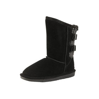 Bearpaw Boots Girls Cow Suede Knit Back TPR Outsole Boshie Kids 1669Y