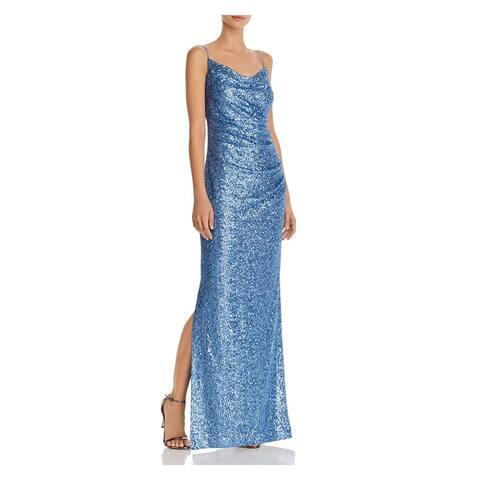 LAUNDRY Blue Spaghetti Strap Full-Length Dress 0
