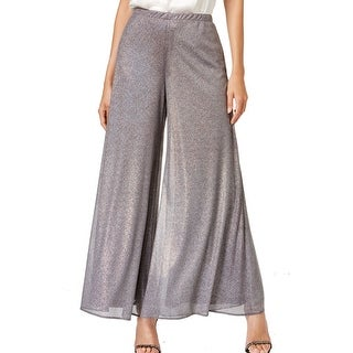 MSK NEW Holographic Silver Women's XL Wide-Leg Shimmer Dress Pants