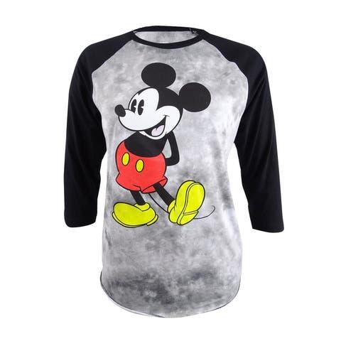 Hybrid Women's Trendy Plus Size Mickey Graphic Baseball T-Shirt - Black