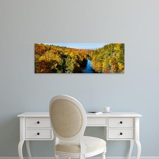 Easy Art Prints Panoramic Image 'Trees in autumn at Dead River, Upper Peninsula, Michigan' Canvas Art