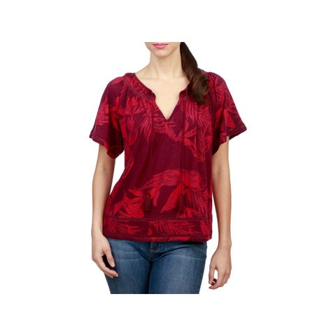 Lucky Brand Womens Pullover Top Tassel Floral Print