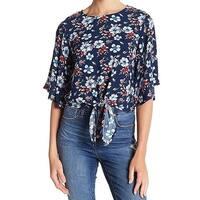 Elodie Blue Womens Size Large L Tie-Hem Floral-Printed Blouse