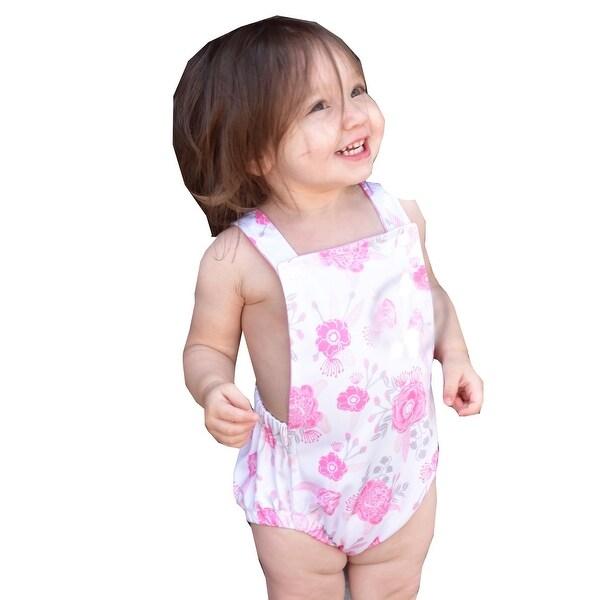6e2e3c8a44a7 Shop JAEA Kids Little Girls Pink Floral Print Criss-Cross Rose   Rhea  Romper - Free Shipping On Orders Over  45 - Overstock.com - 24122493